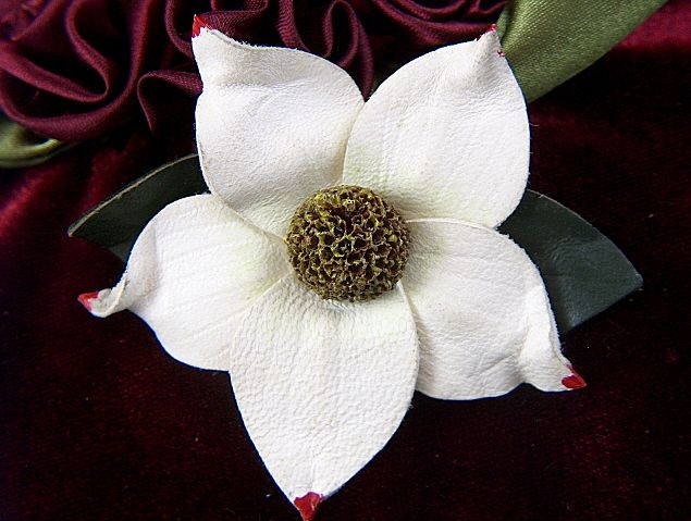 Vintage Genuine White Leather Flower Pin Brooch