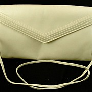 Vintage 1970s Mary Ann Rosenfeld Light Beige Leather Clutch Purse Handbag