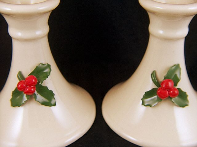 Vintage set of 2 Christmas Holly Berries Candlesticks / Candle Holders - signed Pelican Porcelain USA