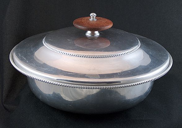 Vintage signed 1950s B.W. Buenilum Large Aluminum Covered Dish - Wood Knob
