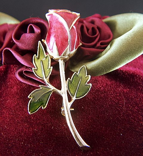 Vintage Enamel Red Rose Pin Brooch
