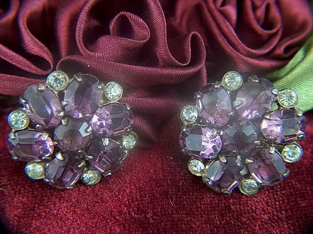 Vintage Sterling Silver Amethyst Glass Rhinestone Screw Back Earrings