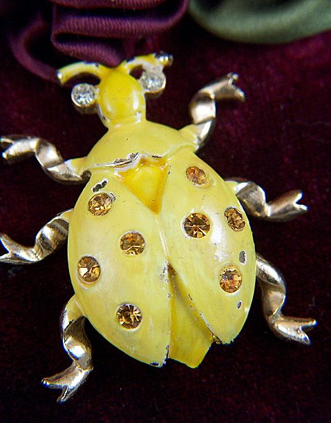 Vintage signed WEISS Yellow Enamel Bug Pin Brooch