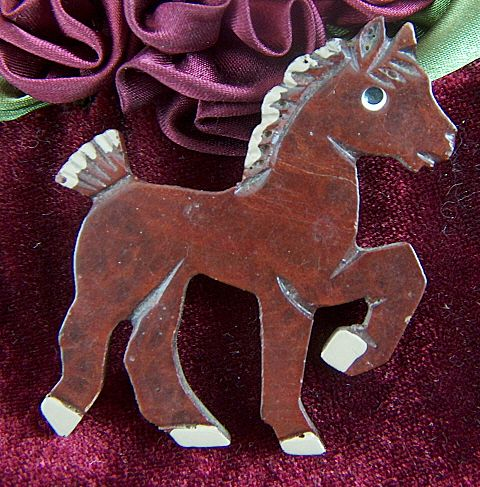 Vintage Carved Dark Brown Wooden Horse Pony Pin Brooch