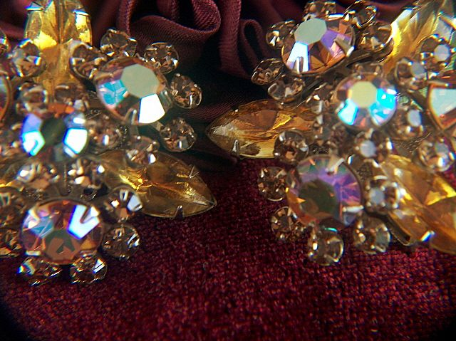 Vintage Layered Aurora Borealis and Amber Rhinestone Clip Earrings