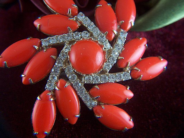 Vintage Red Orange Cabochon Navettes Clear Rhinestone Brooch Pin