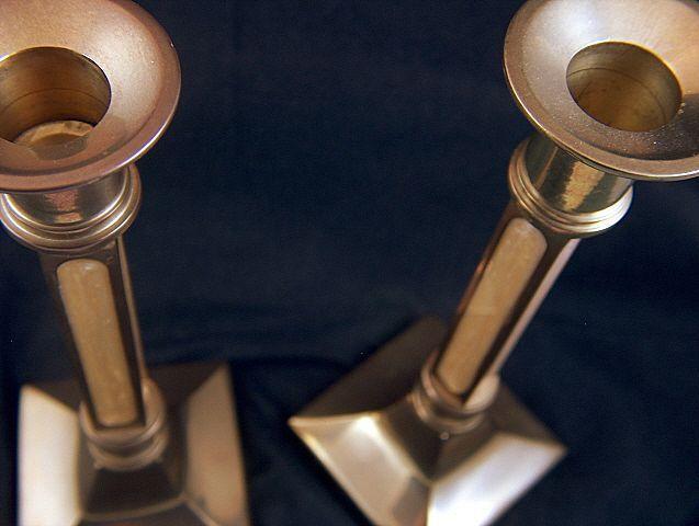 Vintage Square Brass Candlesticks - Enamel Inserts