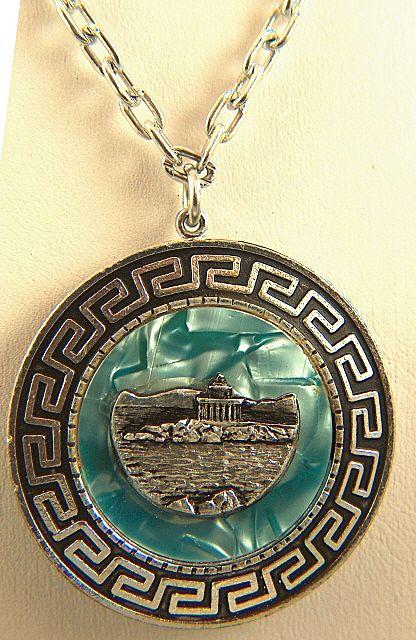 Vintage Eloxal Aluminum Greek Two-Side Medallion - Agion Theodoron Lighthouse and British Monument
