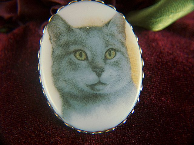 Vintage Oval Glass Portrait Blue Gray Kitty Cat Brooch Pin