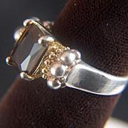 Vintage Sterling Silver Vermeil Dark Topaz Quartz ring - Size 6 1/2
