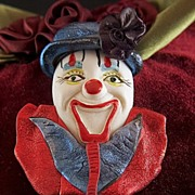 Vintage Hand Made 1980s Painted Clown Face Brooch Pin