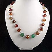 Vintage Brown Green and White Agate Nuggets and Seed Bead Necklace