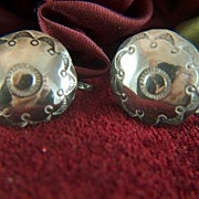 Vintage Native American Stamped Concho Sterling Silver Screw Back Earrings