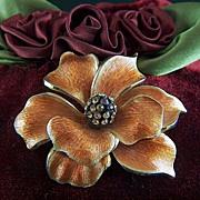 Vintage Rhinestone Flower Brooch Pin