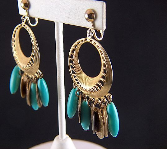 Vintage Dangling Hoop Clip Earrings - Roman Coins