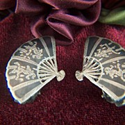 Vintage signed SIAM STERLING Niello Dancers Fan Clip Earrings