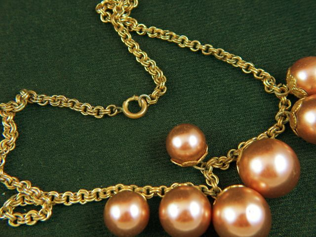 Vintage Blown Glass Faux Pearls and Copper Chain Necklace