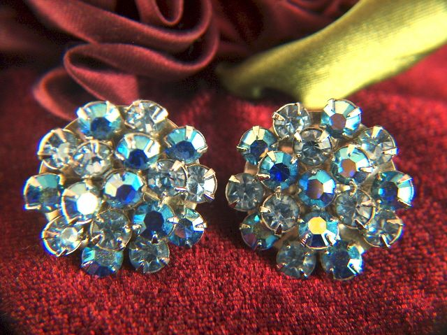 Vintage Pale Blue and Aurora Borealis Prong Set Rhinestone Clip Earrings
