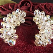 Vintage Aurora Borealis Crystal Bead Clip Earrings
