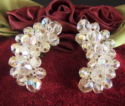 Vintage Aurora Borealis Crystal Bead Clip Earrings
