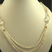 Vintage and GORGEOUS Sparkling Clear Faceted Crystal Necklace - 3 Strand
