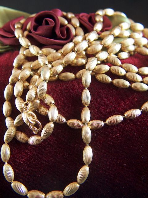"Vintage signed NAPIER Single 59 1/2"" Long Strand of Gold Toned Textured Metal Beads Necklace"