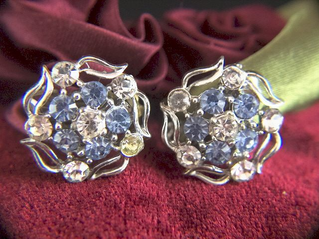 Vintage signed Lisner Baby Blue and Clear Rhinestone Clip Earrings