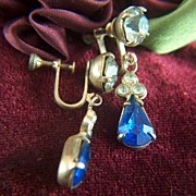 Vintage Sapphire and Clear Glass Rhinestone Drop Screw Back Earrings