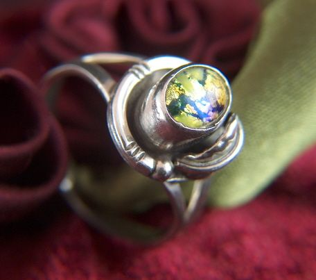 Vintage Sterling Silver With Dichroic Glass Ring - Size 7 1/4