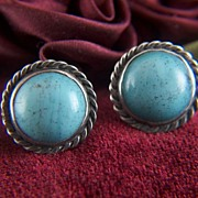 Vintage Sterling Silver and Blue Glass Cabs Screw Back Earrings