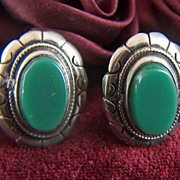 Vintage signed Mexico Green Glass and Sterling Silver Screw Back Earrings