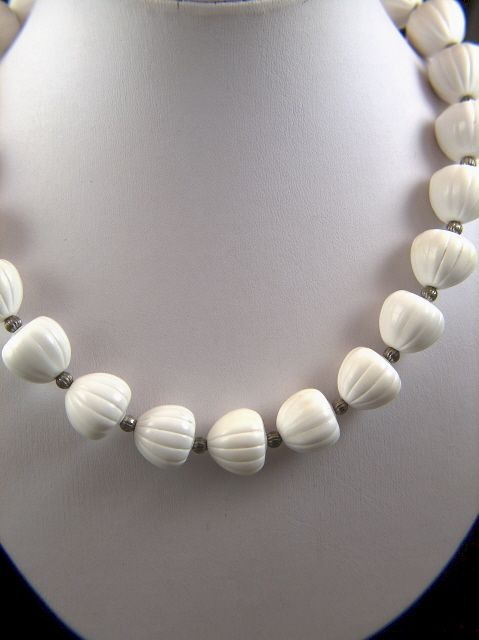 Vintage Trifari White Plastic Acorn Shaped Beads Necklace
