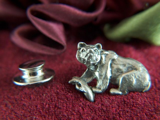 Vintage Sterling Silver Grizzly Bear and Trout Tie Tac - Lapel Pin