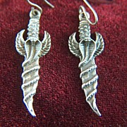 Vintage Sterling Silver Winged Cobra Staff Pierced Earrings - Charms