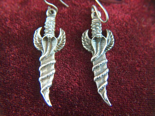 Vintage Sterling Silver Winged Cobra Staff Pierced Earrings - Charms