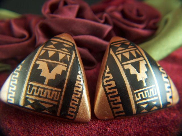 Vintage Hand Painted Black and Bronze Tribal Triangle Post Earrings