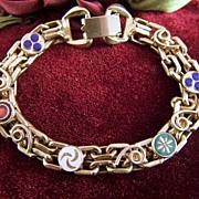 Vintage Gold Toned Chain Links and Enamel Disks Bracelet - Blue, Green, White, Red