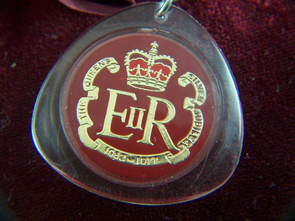 Vintage Queen Elizabeth II Coat of Arms Silver Jubilee Lucite Keychain
