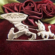 Vintage Sterling Silver Mexican with Sombrero and Burro Brooch Pin