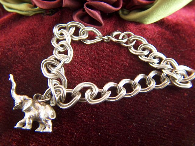 Vintage Silver Toned Link Bracelet with Elephant Charm - Germany