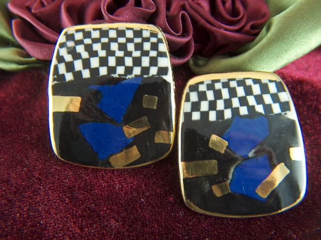 Vintage and Unusual Porcelain Checkerboard Black White Blue Gold  Enamel Clip Earrings