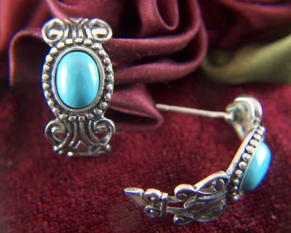 Vintage Sterling Silver  Taxco Style Turquoise Huggie Post Earring - signed AVON