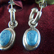 Vintage signed TAXCO MEXICO Sterling Silver and Blue Stone Huggie Pierced Earrings - 2 Different Styles in One!