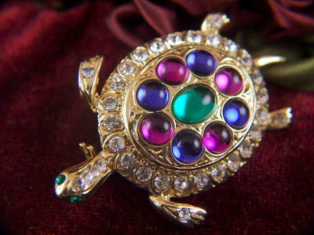 Vintage Bright Colored Cabs and Rhinestone Turtle Brooch Pin
