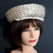 Vintage Cream Raffia Straw Hat with Grosgrain Ribbon and Net Trim - Leslie James Bullock's Los Angeles
