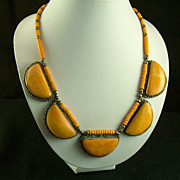 Vintage Tangerine Cabs and Beads Necklace