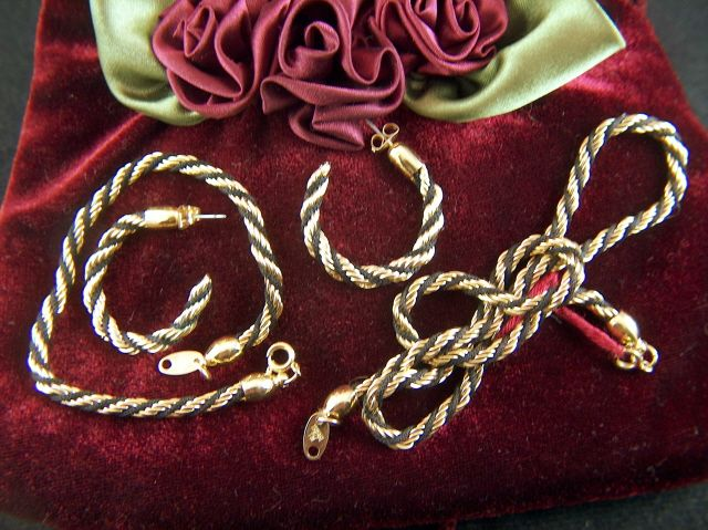 Vintage Trifari Black Cord and Gold Twisted Rope Parure - Necklace Bracelet and Hoop Earrings