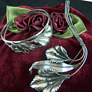 Vintage Art Nouveau Sterling Silver Lilies and Leaves Cuff Bracelet and Brooch Pin Set