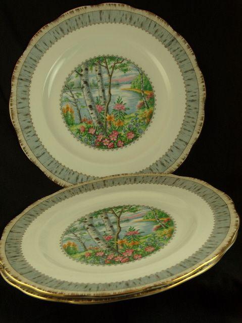 "Vintage Set of 3 Royal Albert Silver Birch Dinner Plates - 10 1/4"""
