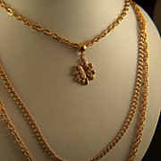 Vintage Four Leaf Clover  Triple Strand Chain Necklace